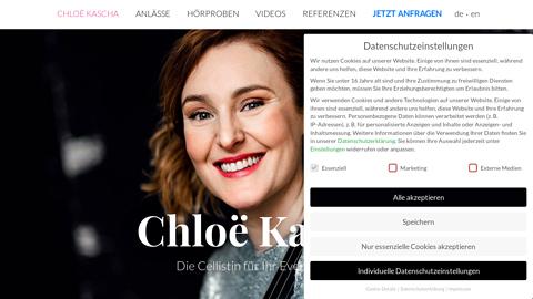 Vorschaubild der Homepage von Chloë Kascha ist eine klassisch ausgebildete, professionelle Musikerin mit langjähriger Auftrittserfahrung und einem Repertoire, das von Klassik über Jazz und Tango bis hin zu aktuellem Pop reicht. Mit ihrem virtuosen Cellospiel verleiht sie Ihrem Anlass den perfekten musikalischen Rahmen. Das Cello eignet sich traditionell für die Begleitung von Hochzeiten, eleganten Abendveranstaltungen, Empfängen oder Trauerfeiern.  Auf Wunsch tritt Chloë Kascha mit grösseren Streichensembles (Duo, Trio, Quartett) sowie mit Sängern, Pianisten, Harfenisten und Organisten auf.