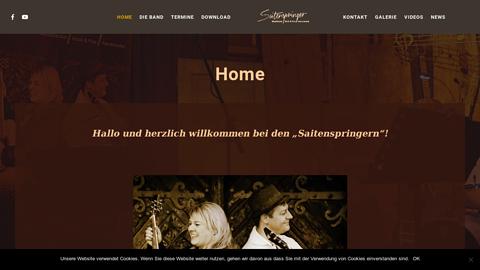 """Vorschaubild der Homepage von """"Saitenspringer"""" – der Name steht für handgemachte Musik mit ausgefeiltem mehrstimmigem Gesang, präsentiert auf eine ganz persönliche Weise….  Ob Stadtfeste, Kneipen und Biergärten oder private Feiern; die """"Saitenspringer"""" sind überall zu Hause. Mit Ihrer sympathischen Bühnenpräsenz begeistern sie immer wieder ein Publikum aller Altersgruppen.  Gegründet 2010, sind die """"Saitenspringer"""" mittlerweile ein fester Bestandteil der Kulturszene in Bielefeld und auch darüber hinaus. Ursprünglich als reines Duo gegründet, gibt es sie seit 2016 auch als klassische Band unter dem Namen """"Saitenspringer & Friends"""" zu sehen und zu hören. Gefühlvoll-melancholische Eigenkompositionen sowie ausgewählte Klassiker und Evergreens der Rock- und Popgeschichte machen das Programm der Vier immer wieder zu einem unvergesslichen Erlebnis, und nehmen das Publikum mit auf eine musikalische Zeitreise durch 50 Jahre Musikgeschichte."""