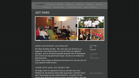 """Vorschaubild der Homepage von Unsere 4-köpfige """"Mitsingband"""" (Git, Git, Bass, Keyb) veranstaltet Wunschkonzerte. Aus über 80 Titeln (Oldies bis Gegenwart) können unsere Gäste auswählen.  Unser Repertoire findet sich auf unserer homepage (www.just-songs.de/just-songs.de/Liederliste_1.html).   Für ganz Mutige haben wir Funkmikros, um als Leadsänger durch den Song zu führen.  Unser Ziel ist es, mit unseren Gästen gemeinsam zu singen was sie wollen."""