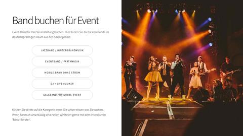 Vorschaubild der Homepage von Band für Events buchen: Jazzband als Hintergrundmusik oder DJ+ Livemusik für Party bei der alle Gäste tanzen. Professionelle Musiker die immer den richtigen Ton zu Ihrem Anlass treffen.  Sie können die Band direkt buchen, es gibt keine Agentur-Provision.   Unsere Geheimtipps: *) Eine Marchingband die als Show-Act jeden Event auflockert. *) Entertainment-Konzepte mit LED-Show, mehreren Sänger/innen und Geigern *) Soulige Jazzmusik für entspannte Lounge-Atmosphäre im Hintergrund zum Sundowner *) Ibiza-Style Saxophon mit Deep House DJ  All das und mehr bei Event-Band-buchen.de Schauen Sie vorbei!