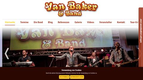 Vorschaubild der Homepage von Die Partyband Van Baker & Band aus Dieburg in Hessen wurde 2006 gegründet und hat sich auf Schlager und NDW spezialisiert. Anzutreffen ist die Coverband besonders bei Après-Ski-Partys, Schlagerpartys, Volksfesten, Firmenfeiern, Sportevents oder Stadtfesten überall in Deutschland, aber auch in Nachbarländern wie den Niederlanden, Luxemburg, der Schweiz und Österreich.