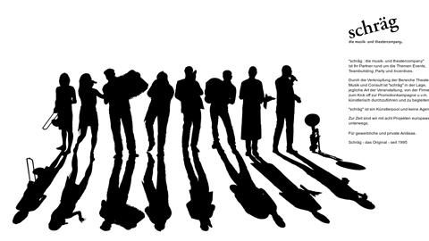 """Vorschaubild der Homepage von """"schräg : die musik- und theatercompany""""  ist Ihr Partner rund um die Themen Events, Teambuilding, Party und Incentives. Durch die Verknüpfung der Bereiche Theater,  Musik und Consult ist """"schräg"""" in der Lage,  jegliche Art der Veranstaltung, von der Firmenfeier  zum Kick off zur Promotionkampagne u.v.m.  künstlerisch durchzuführen und zu begleiten.  """"schräg"""" ist ein Künstlerpool und keine Agentur!  Zur Zeit sind wir mit acht Projekten europaweit unterwegs. Für gewerbliche und private Anlässe."""